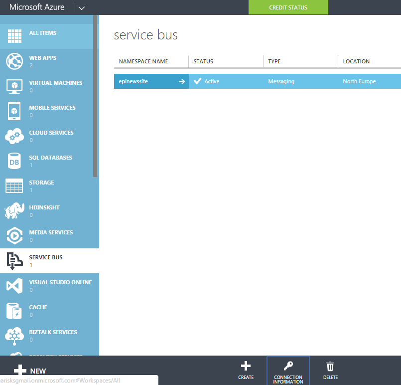 Azure Service Bus view