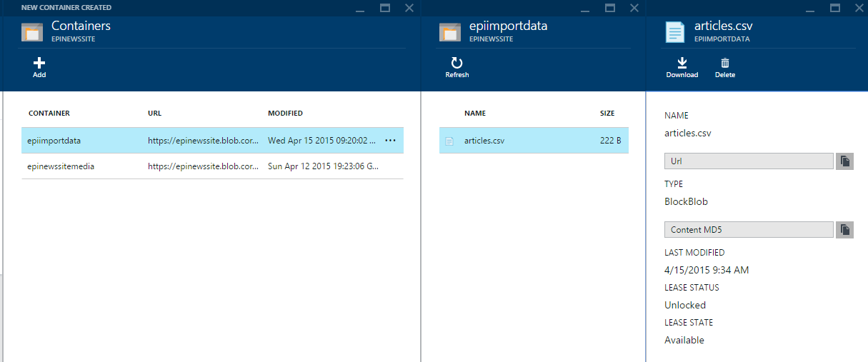 Azure Storage Container file view