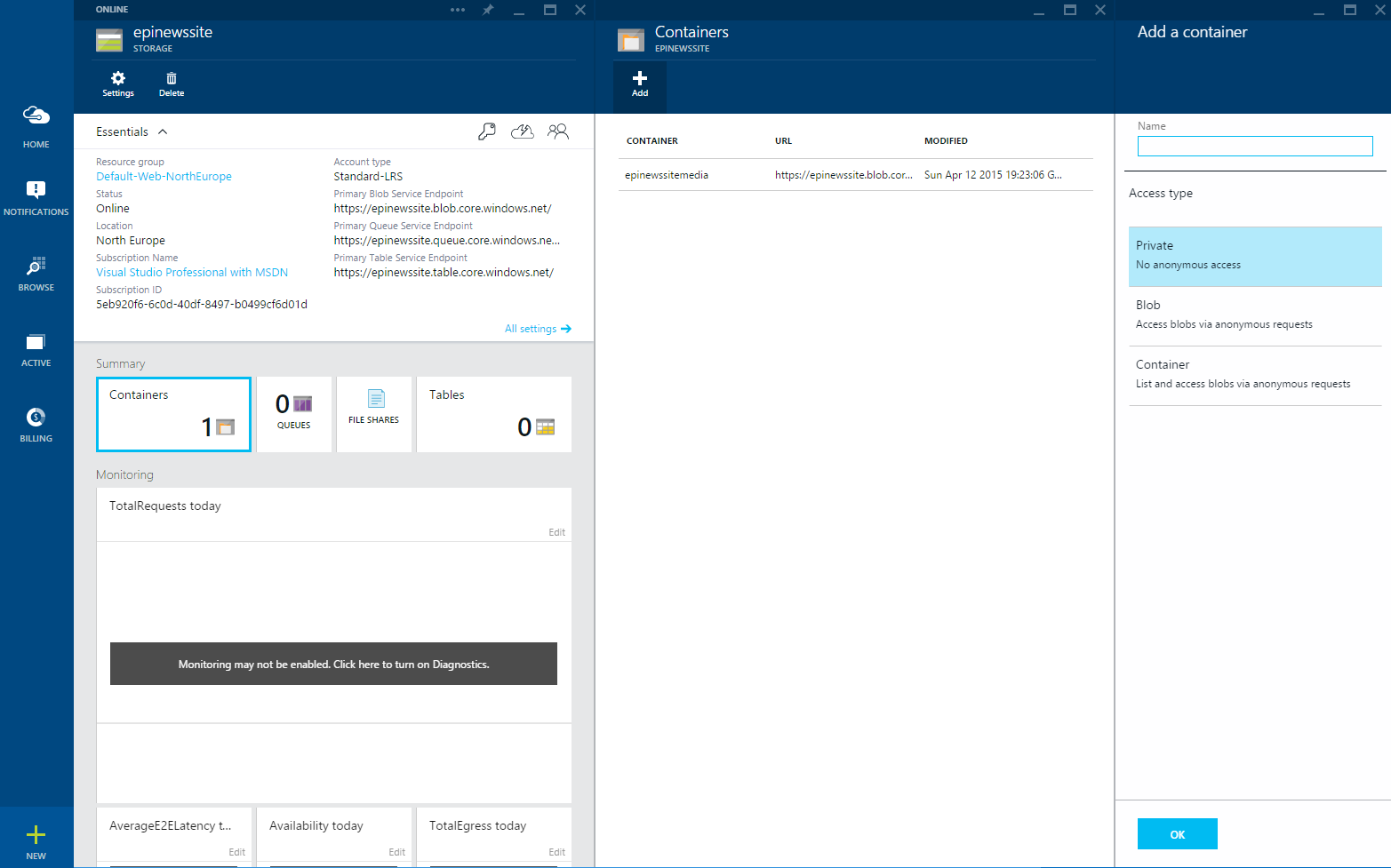 Azure new Storage container view