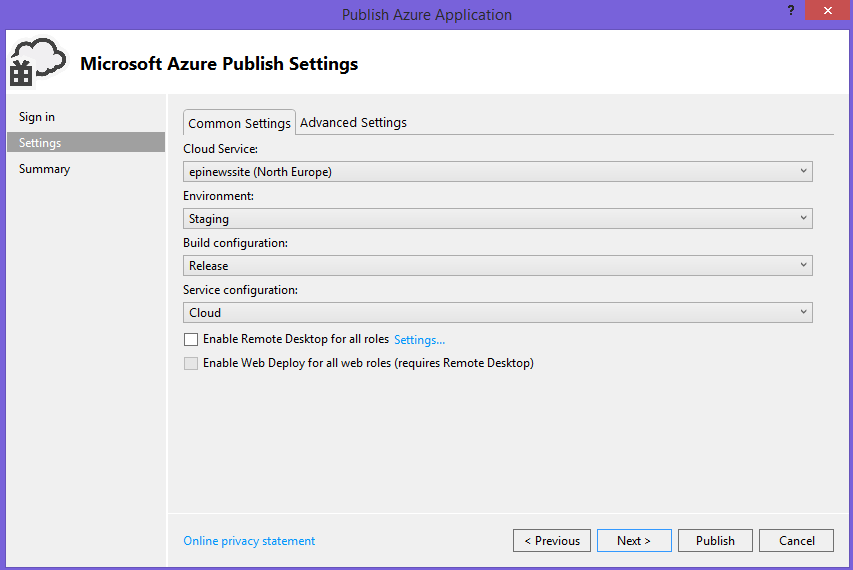 Cloud Service publishing settings dialog