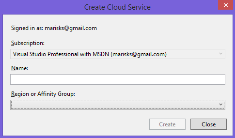 Create Cloud Service dialog