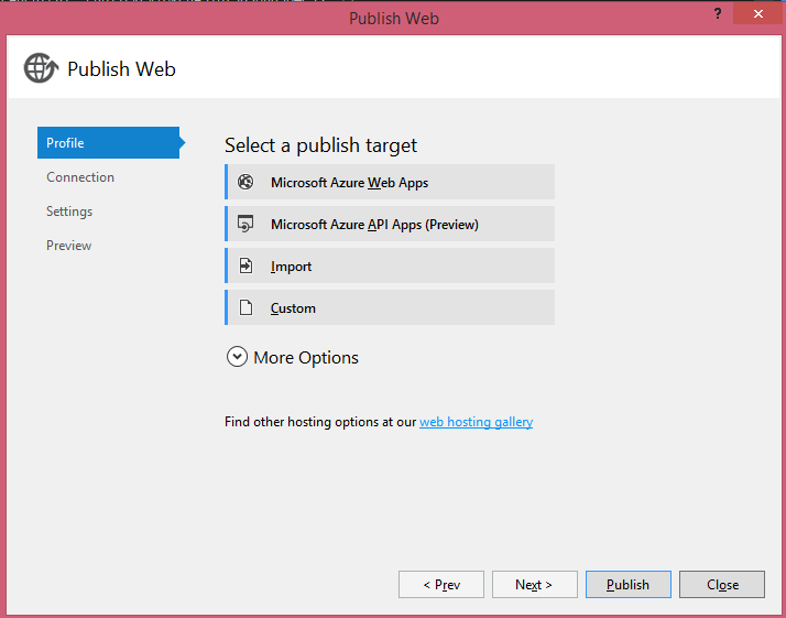 Publishing select publish target dialog