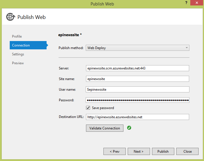 Publishing connection details dialog