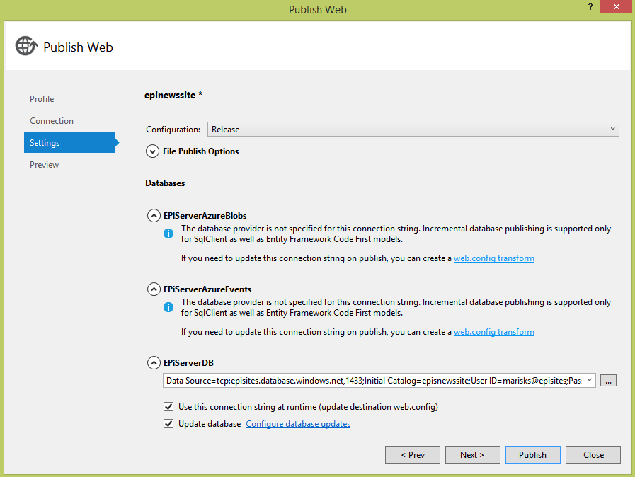 Publishing settings dialog