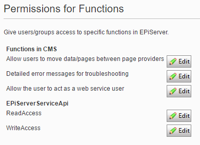 Permissions to functions view