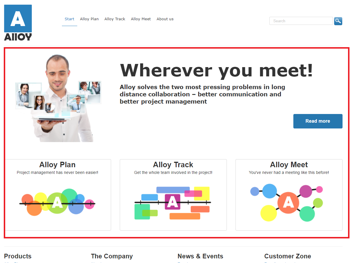 Alloy website home page